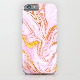 Pink Lemonade Swirled Marble With Gold Glitter Veins iPhone Case