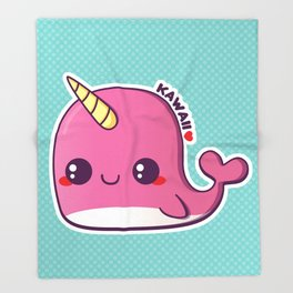 Kawaii Pink Narwhal Throw Blanket