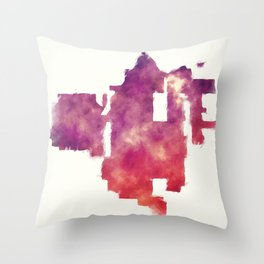 Santa Ana California city watercolor map in front of a white background Throw Pillow