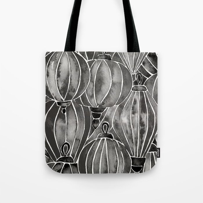 Black Vietnamese Lanterns Tote Bag
