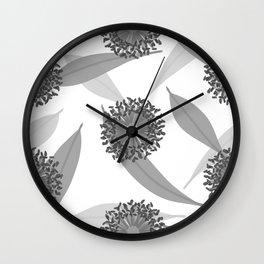 B&W Australian Flora Wall Clock