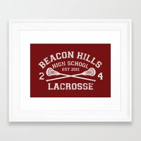 lacrosse Framed Art Prints featuring Beacon Hills Lacrosse by Dorothy Leigh