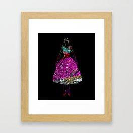Audrey OZ Stardust Pink Glitter Dress Framed Art Print