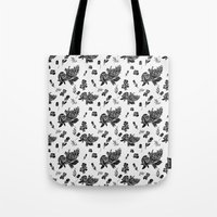 vintage floral Tote Bags featuring VINTAGE FLORAL by Kiley Victoria