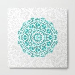 Bohemian Glittering Floral Mandala Aquamarine Metal Print