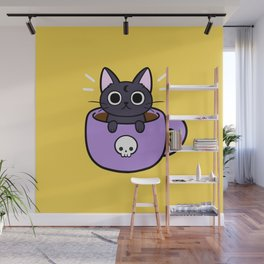 Happy Coffee Cat Wall Mural