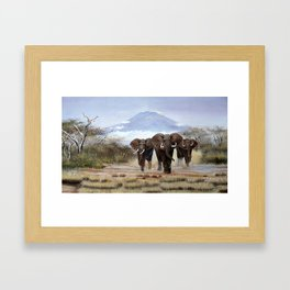 A Painting of aproching Elephants of Mt.Kilimanjaro Framed Art Print