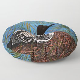 Loon on the Nest  Floor Pillow