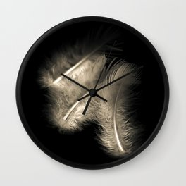 Three feathers in black and white Wall Clock