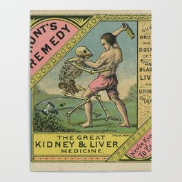 Vintage 1900 Hunt's Snake Oil Skeleton Advertisement Poster, Cures Dropsy and All Diseases! Poster