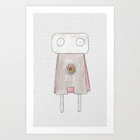 Robot superhero Art Print