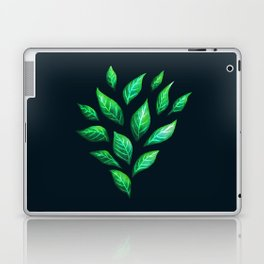 Dark Abstract Green Leaves Laptop & iPad Skin