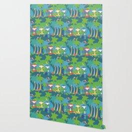 Monkeys Meditating in the Jungle Seamless Pattern Wallpaper