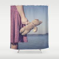 teddy bear Shower Curtains featuring Teddy by Maria Heyens