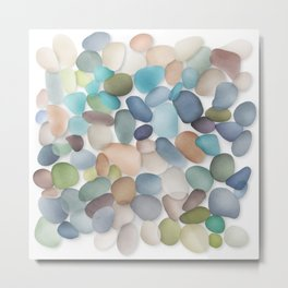 Assorted multicolored glass pebbles Metal Print
