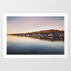 Dawn at the lake Art Print