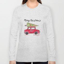 Christmas Tree on Red Car Long Sleeve T-shirt