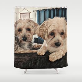 Penny and Copper Dogs Art Shower Curtain