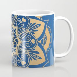 Blue and Gold Flower Mandala Coffee Mug