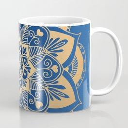 Blue and Gold Flower Mandala Coffee Mug