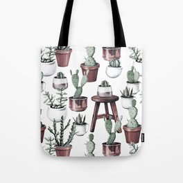 Happy Potted Cacti in Rose Gold Pots Tote Bag