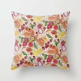 Ready to Eat - Fruit Pattern in White Throw Pillow