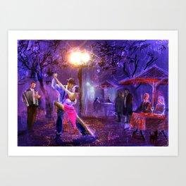 Night tango painting print Art Print