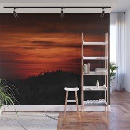 Intense orange-red sunset Wall Mural