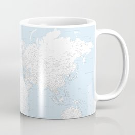 World map, highly detailed in light blue and white, square Coffee Mug