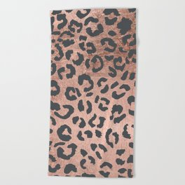 Modern charcoal grey rose gold leopard pattern Beach Towel