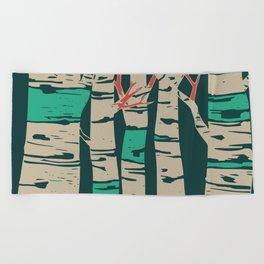 Whimsical birch forest landscape wall art Beach Towel