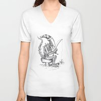 gnome V-neck T-shirts featuring Alien gnome by ronnie mcneil