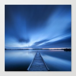 Jetty on a lake at dawn, near Amsterdam The Netherlands Canvas Print