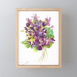 Violets, violet flowers, purple olive green floral design Framed Mini Art Print