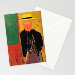 Self-portrait With Cane And Boater - Digital Remastered Edition Stationery Cards