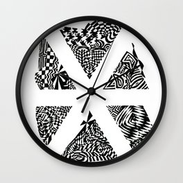 Asterisk, Black/White Abstract (ink drawing) Wall Clock