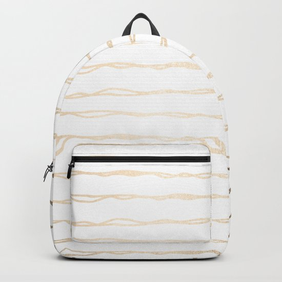 Simply Wavy Lines in White Gold Sands on White Backpack