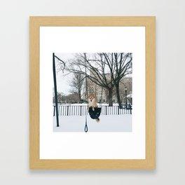 Snow day swing Framed Art Print
