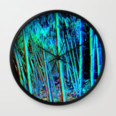Blue Bamboo Forest Wall Clock