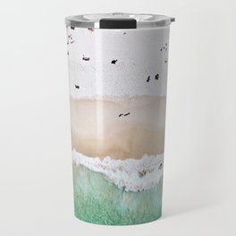 A aerial shot of a sandy beach and crystal clear water Travel Mug