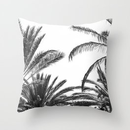 Palm Trees B&W Throw Pillow