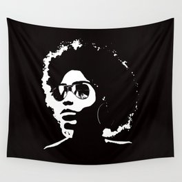 Cool Afro on Black Wall Tapestry