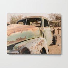 Antique Truck in Desert Metal Print