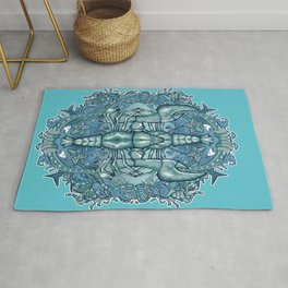 Blue lobster crest Rug