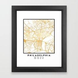 PHILADELPHIA PENNSYLVANIA CITY STREET MAP ART Framed Art Print