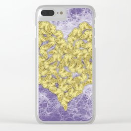 Gold butterflies on ultraviolet fractal texture Clear iPhone Case