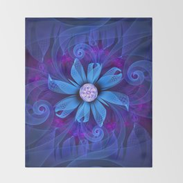 A Snowy Edelweiss Blooming as a Blue Origami Orchid Throw Blanket