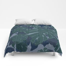 Tropical Blue and Turquoise Monstera Plant Pattern Comforters