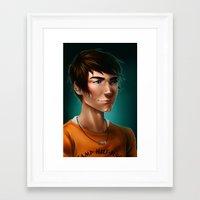 percy jackson Framed Art Prints featuring Percy Jackson by spookzilla