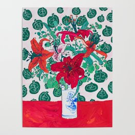 Tropical Lily Bouquet in Delft Vase with Matisse Leaf Cutout Background Poster